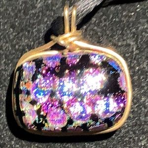 2 SIDED DICHROIC GLASS PENDANT W/ GOLD TONE WIRE